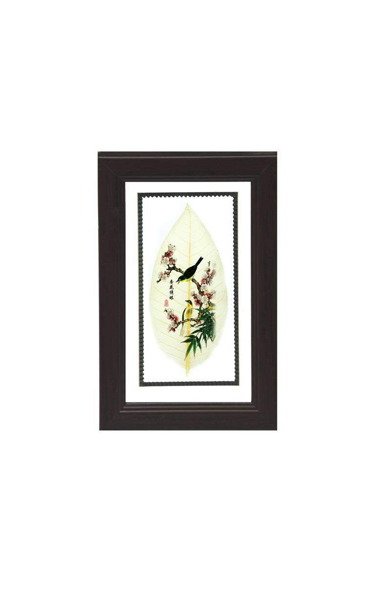 花鸟类叶脉画小号长方形镜框