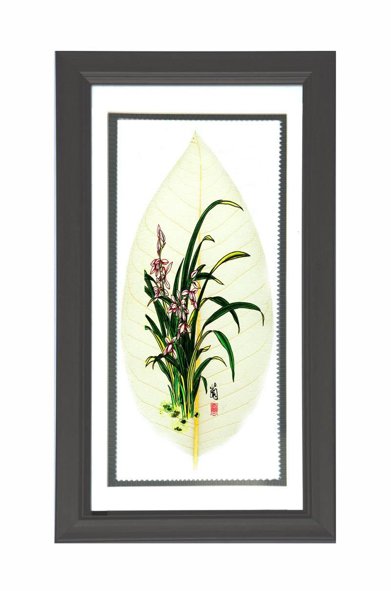 花鸟类叶脉画中号长方形镜框