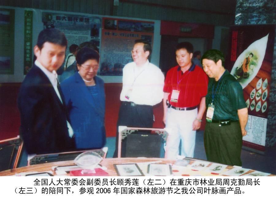 全国人大常委会副委员长顾秀莲古庭风叶脉画产品