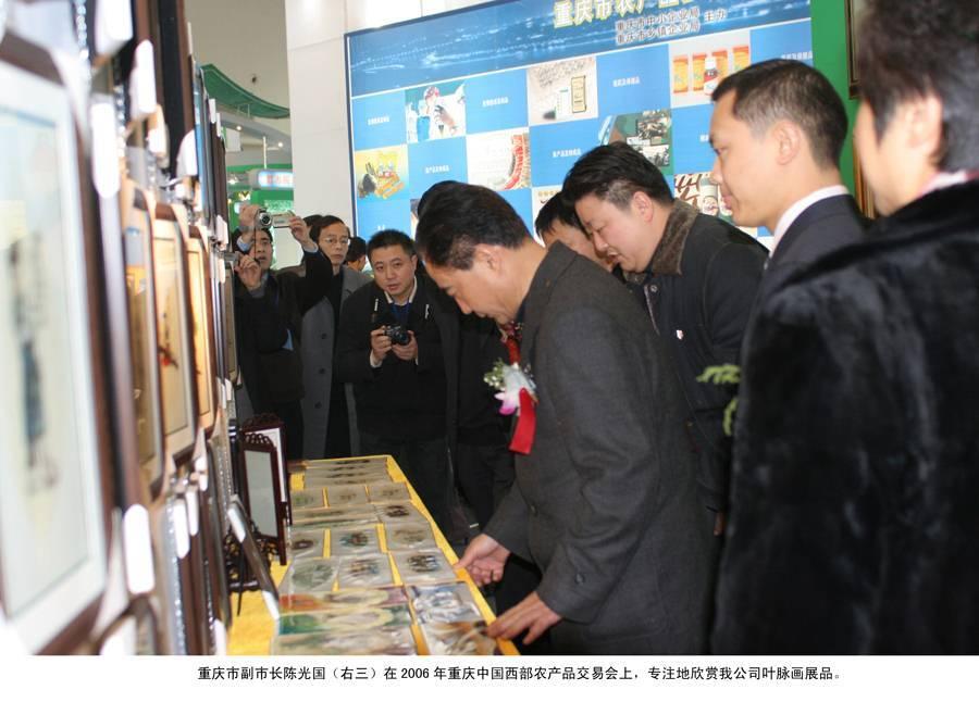 重庆市副市长陈光国在2006年重庆中国西部农产品交易会上,专注的欣赏我公司叶脉画展品